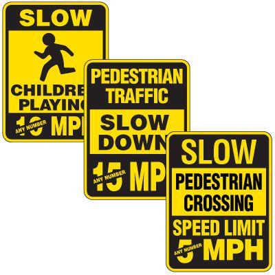 Reflective Pedestrian Crossing Signs - Custom Speed Limit