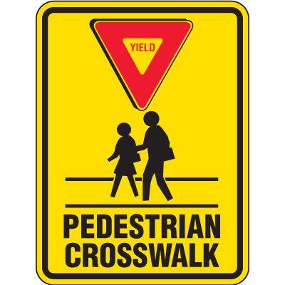Reflective Pedestrian Crossing Signs - Yield Pedestrian Crosswalk