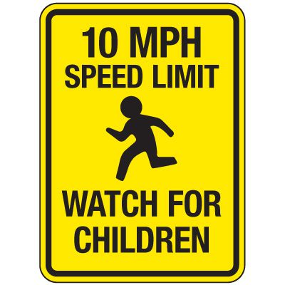 Reflective Pedestrian Signs - 10 MPH Speed Limit