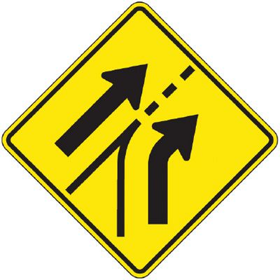 Reflective Warning Signs - Entering Roadway Added Lane (Symbol)