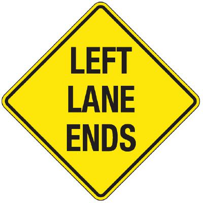 Reflective Warning Signs - Left Lane Ends