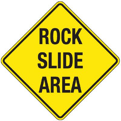 Reflective Warning Signs - Rock Slide Area