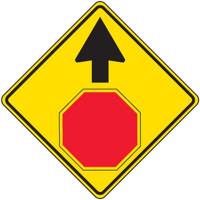 Reflective Warning Signs - Stop Ahead Symbol