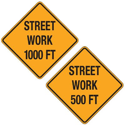 Reflective Warning Signs - Street Work