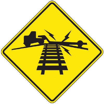 Reflective Warning Signs - Truck Across Railtracks (Symbol)