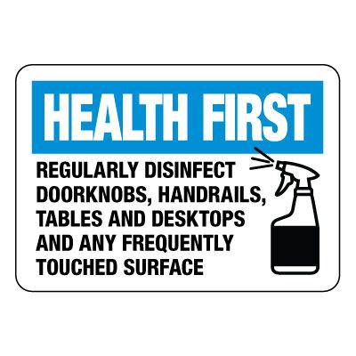Health First Regularly Disinfect Surfaces Sign