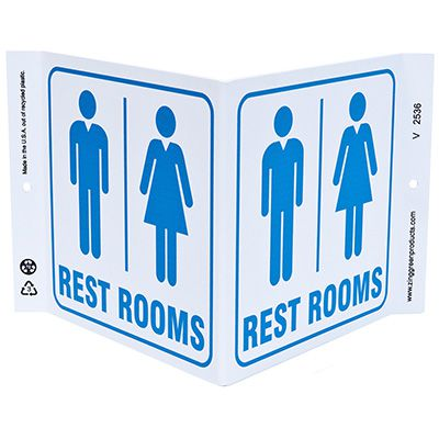 Rest Rooms V-Style Sign