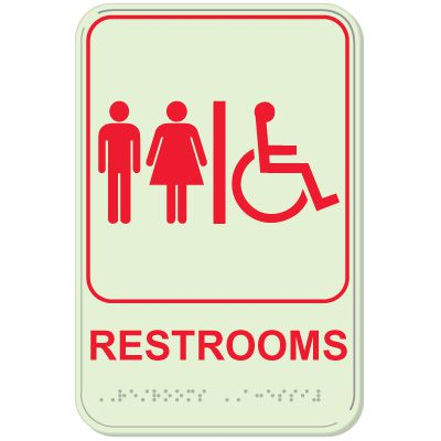 Restroom/Man/Woman/Accessibility - Glo-Brite® ADA Braille Signs