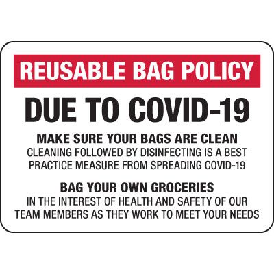 Reusable Bag Policy Due to COVID-19 Sign