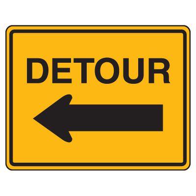 Road Construction Signs - Detour with Left Arrow
