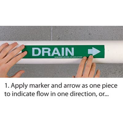 Roll Form Self-Adhesive Pipe Markers - Heating Supply