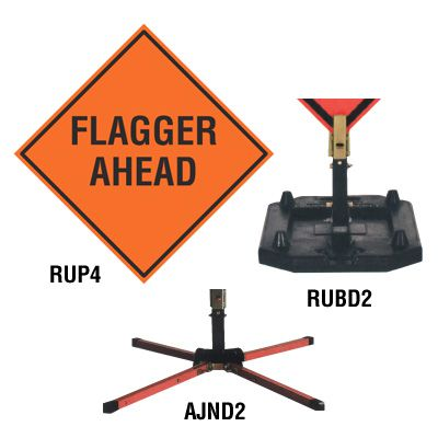 TrafFix Devices Roll-Up Sign - Flagger Ahead 26036-EM-HF