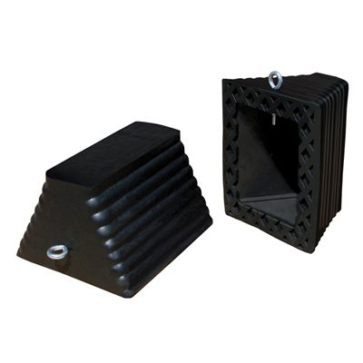 Rubber Wheel Chocks, 8W x 5-1/2H x 10L