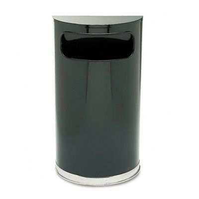 Rubbermaid® Commercial European & Metallic Series Half-Round Waste Receptacle FGSO820PLBK