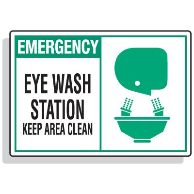 Safety Alert Signs - Emergency - Eye Wash Station Keep Area Clean