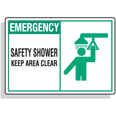 Safety Alert Signs - Emergency - Safety Shower Keep Area Clean