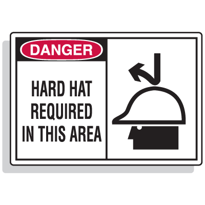 Safety Alert Signs - Danger - Hard Hat Required