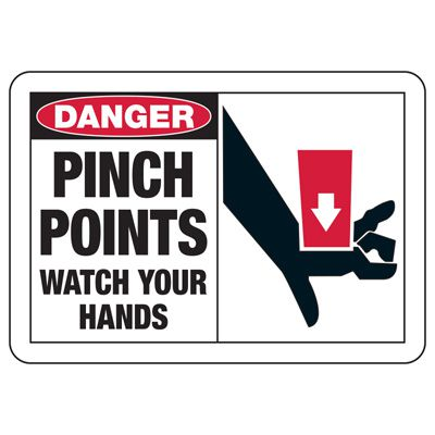 Safety Alert Signs - Danger Pinch Points Watch Your Hands