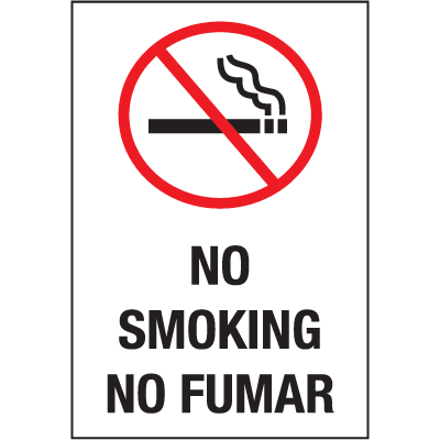 Safety Door And Window Decals- No Smoking/No Fumar