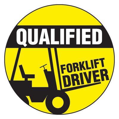 Safety Hard Hat Labels - Qualified Forklift Driver