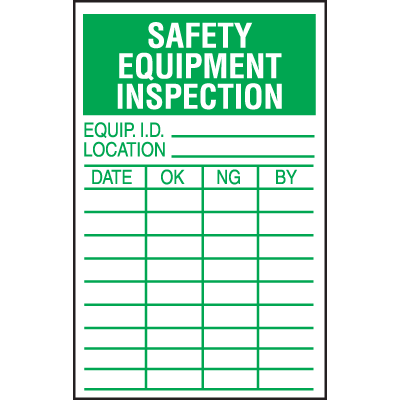 Safety Equipment Inspection Labels