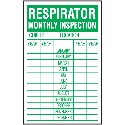 Respirator Monthly Safety Inspection Labels