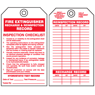 Safety Inspection Tags - Fire Extinguisher Recharge & Inspection Record