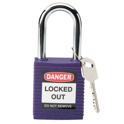 Brady Keyed Different One and Half inch Shackle Safety Locks - Purple - Part Number - 104919 - 1/Each