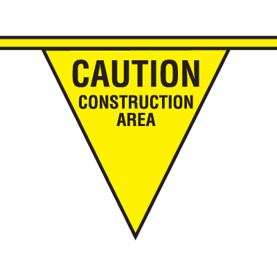 Safety Pennants - Caution Construction Area