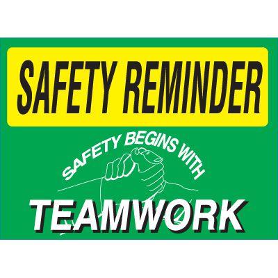 Safety Reminder Signs - Teamwork