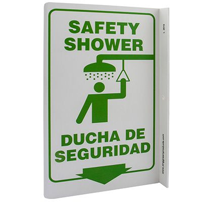 Safety Shower Bilingual L-Style Sign