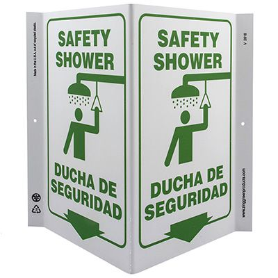Safety Shower Bilingual V-Style Sign
