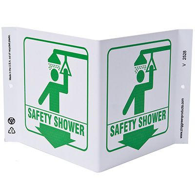 Safety Shower V-Style Sign