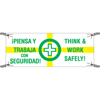 Think And Work Safely Bilingual Safety Slogan Banners