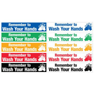 Safety Slogan Mirror Labels - Remember To Wash Your Hands