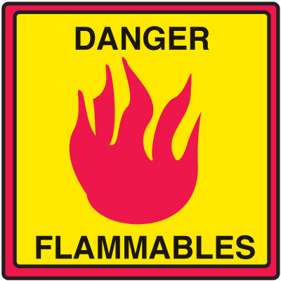 Safety Traffic Cone Signs - Danger Flammables