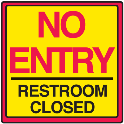 Safety Traffic Cone Signs - No Entry Restroom Closed