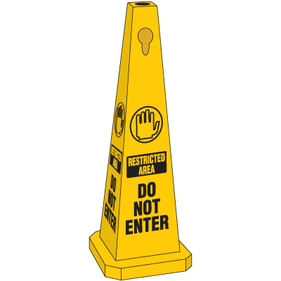 Safety Traffic Cones- Restricted Area Do Not Enter