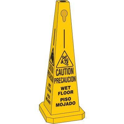 35H Safety Traffic Cones - Caution Wet Floor (Bilingual) w/ Graphic