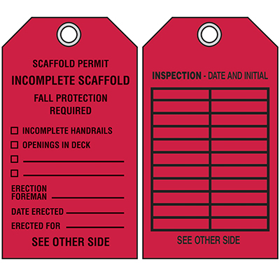 Scaffold Permit Tags - Incomplete Scaffold