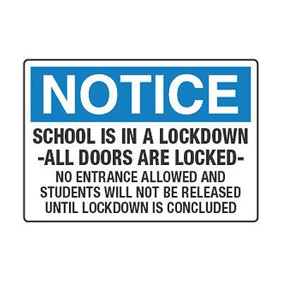 School Is In A Lockdown All Doors Are Locked - Lockdown Signs