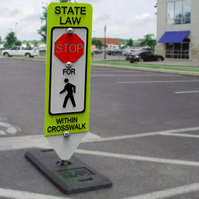 State Law Stop - Spring-Back Pedestrian Crossing Signs