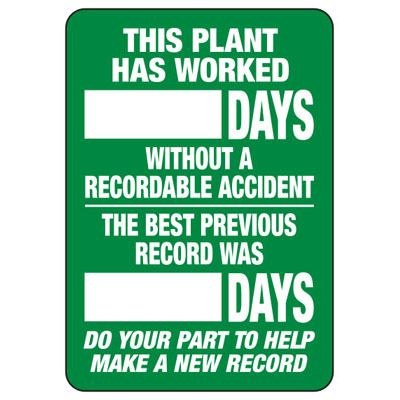 This Plant Has Worked Blank Days - Write-On Wipe-Off Scoreboard Signs