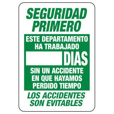 Spanish Seguridad Primero - Write-On Wipe-Off Scoreboard Signs