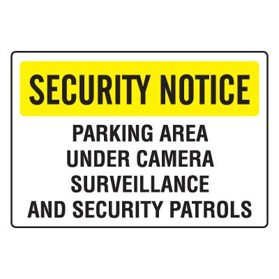Security Camera Signs - Parking Area