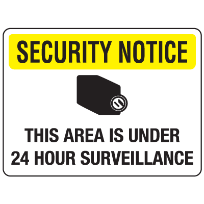 Security Floor Markers - Area is Under 24 Hour Surveillance