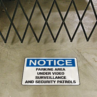 Security Floor Markers - Parking Area Under Video Surveillance and Security Patrols