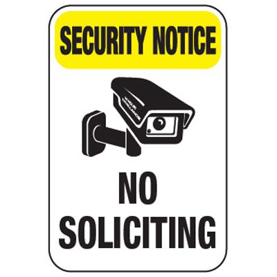 Security Notice No Soliciting - Property Protection Signs