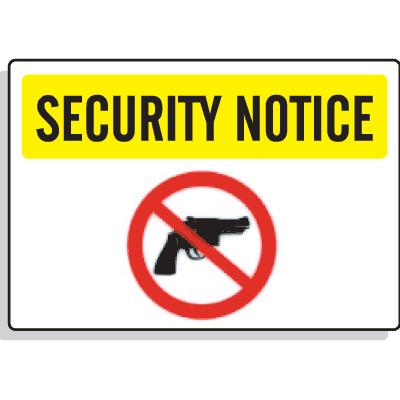 Security Notice Signs - No Firearms Graphic