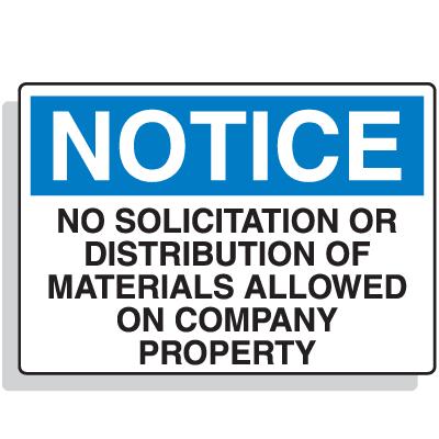 Notice No Solicitation Or Distribution Security Signs